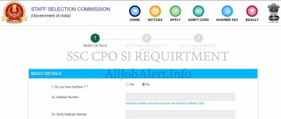 SSC CPO 2020 Notification Apply Online
