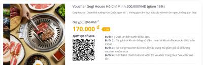 Voucher Gogi House Hồ Chí Minh 200.000VNĐ (giảm 15%)